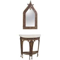 Art Deco Console and Matching Mirror
