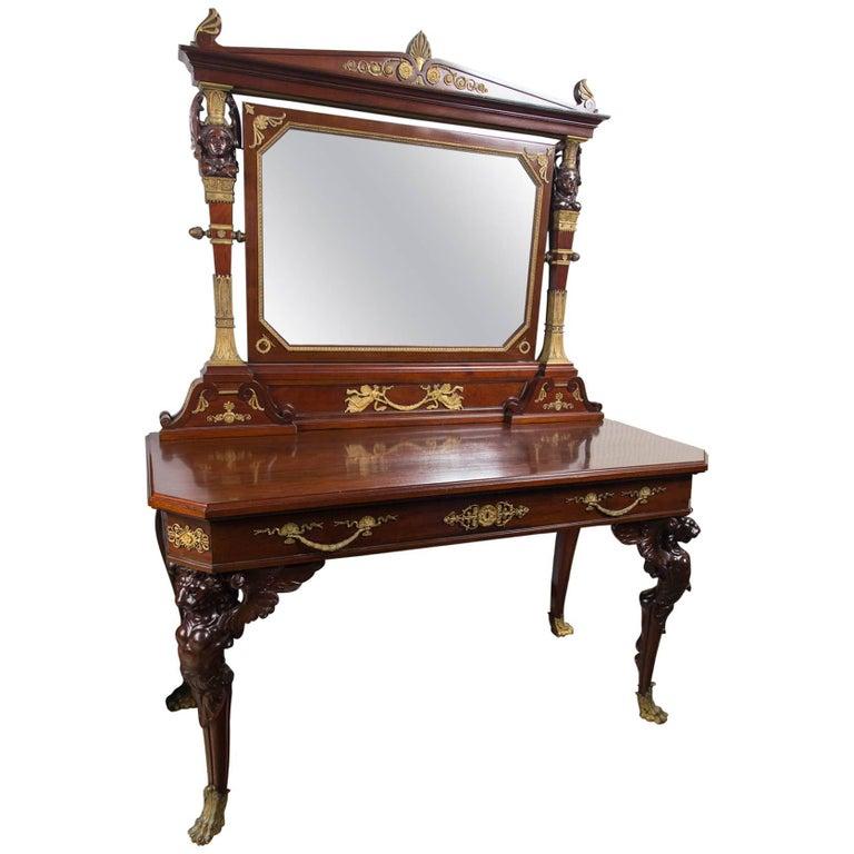 French Empire Mahogany Dressing Table
