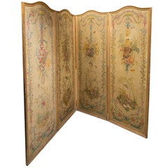 19th Century Neoclassic Style Painted Wood Screen