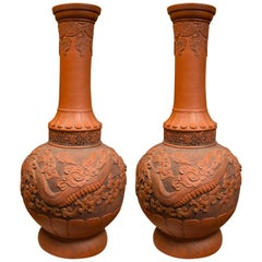 Pair of Japanese Tokoname art pottery, with impressed maker's mark, 1920s