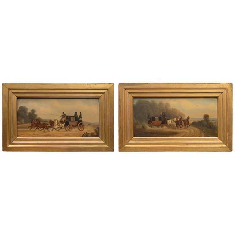 Pair of Oil Paintings Coaching Scenes