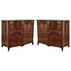 Pair of French Louis XV Style Veneered Commodes with Marble Tops