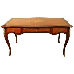 French Desk Bureau Plat in the Louis XV Style with Marquetry of Fruitwood