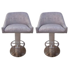 Set of Two Memory Swivel Chrome Bar Stools