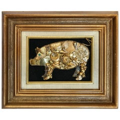 Caricature of Pig Made of Repurposed Jewelry