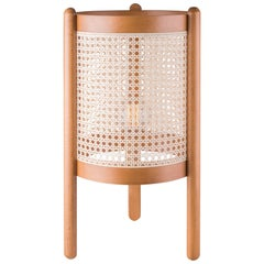 """Noce"" Lamp Ø32, Contemporary Style, Brazilian Wood and Natural Straw, 2843"