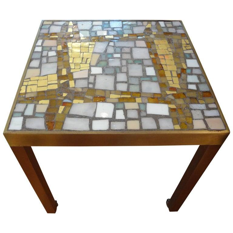 French Modern Brass Table with a Ceramic Mosaic Tile-Top