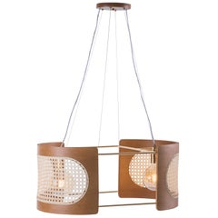 """Noce"" Pendant Small, Contemporary Style, Brazilian Wood and Natural Straw, 2841"