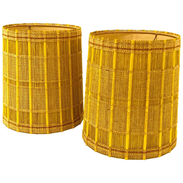Pair Of Mid Century Modern Tall Drum Cylinder Lamp Shades By Maria Kipp For