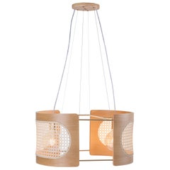 Contemporary Pendant Lamp Noce Large Size, Brazilian Wood and Natural Straw