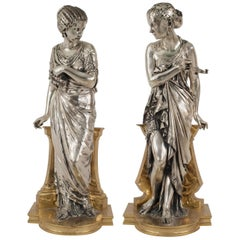 Pair of French Victorian Silvered Classical Greek Female Figures