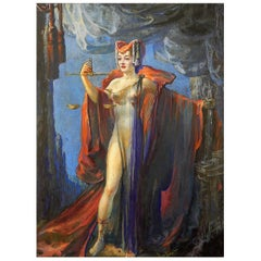 """Justice in Hollywood,"" Fabulous Art Deco Depiction of Allegorical Nude Female"