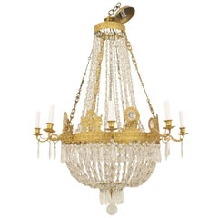 French Empire 'circa 1810' Gilt Bronze and Cut-Glass Chandelier