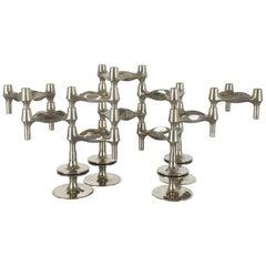 Set of 14 Vintage, 1970s BMF Nagel Candleholder Elements Design by Caesar Stoffi