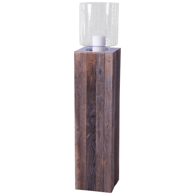 Contemporary Wood Pillar Candleholder with Glass Hurricane For Sale