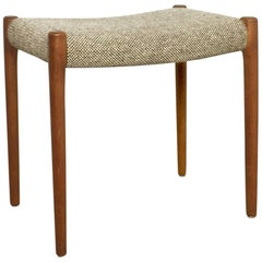 Original 1960s Teak Fabric Stool by Niels O. Möller for Möller Models, Denmark