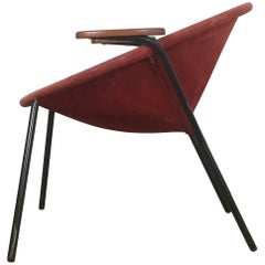 Vintage 1950s Real Red Leather Balloon Easy Chair by Hans Olsen for LEA, Denmark