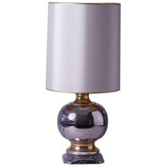 1950s Small-Scale Silver and Gold Table Lamp by Italian Designer Ugo Zaccagnini