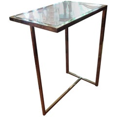 Mid-Century Modern Brass Table with Mirrored Top