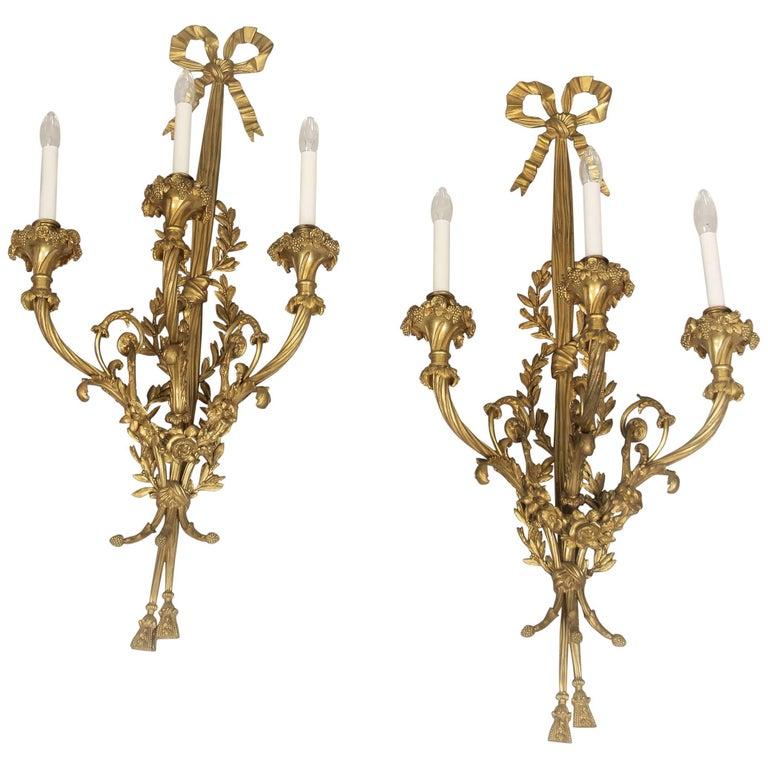 Fantastic Pair of Late 19th Century Gilt Bronze Sconces by Maison Millet