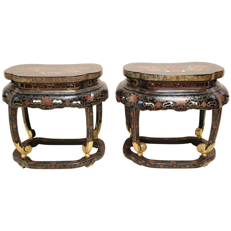 Pair of Chinese Black and Gilt Low Tables