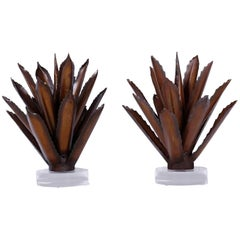 Pair of Agave Plant Sculptures