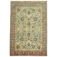 Antique Persian Qum Room Size Rug