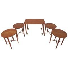 Bent Hundevad Danish Teak Nesting Tables or Serving Tables Set, circa 1960s