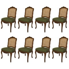 Set of Eight Provincial Louis XV Style '20th Century' Walnut Carved Side Chairs