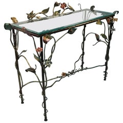 Jay Strongwater Console with Polychrome Foliage and Swarovski Accents