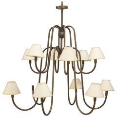 French Post-War Design 'Royere Style' Twelve-Arm Chandelier