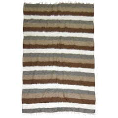 Sirt Vintage Turkish Striped Mohair Rug