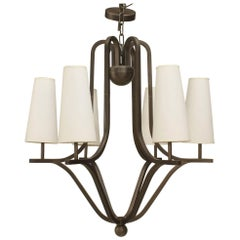French Postwar Design 'Royere Style' Six-Arm Chandelier