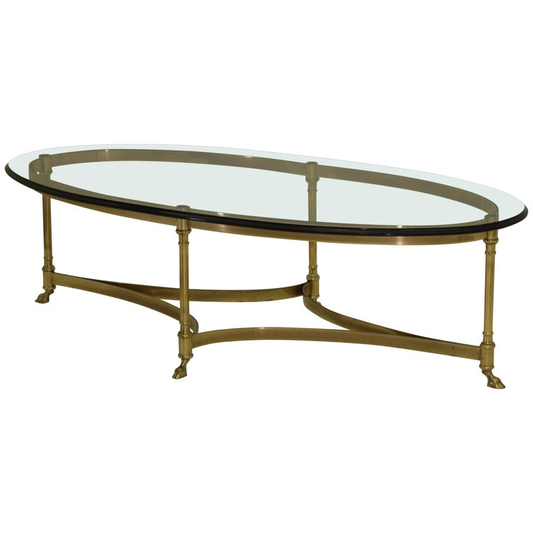 Brass and Glass Midcentury Labarge Hoof Cocktail Table Regency Modern