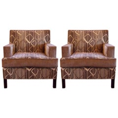 Pair of Two-Tone Chenille Club Chairs