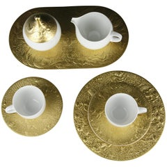 Coffee and Dessert Service by Rosenthal Bjorn Wiinblad 24-Karat Plated