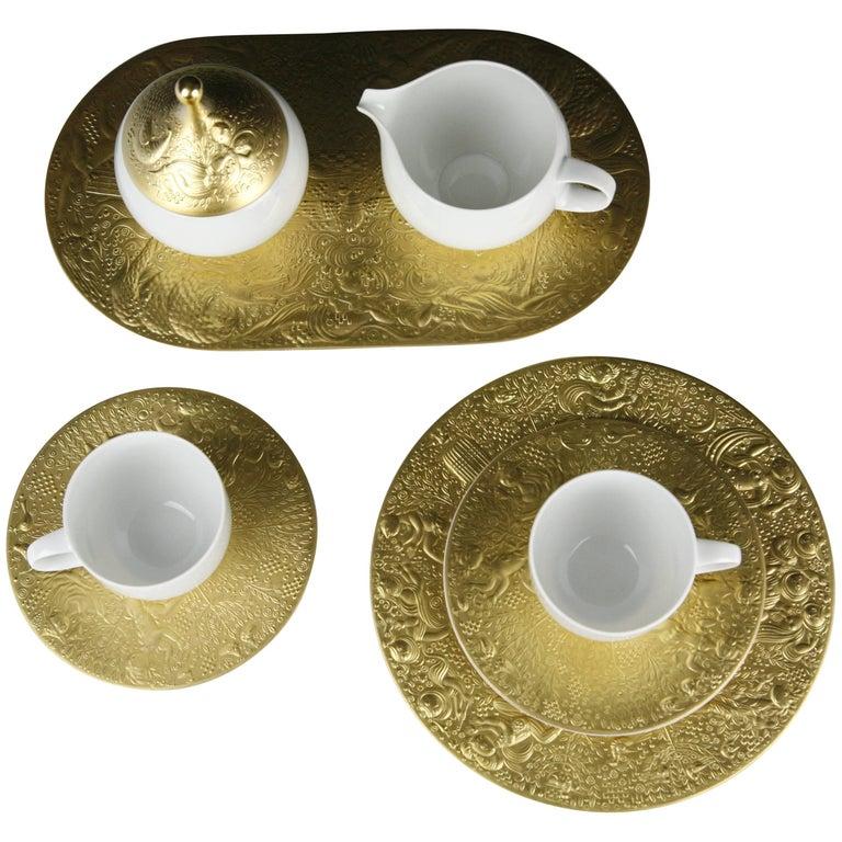 Coffee and Dessert Service by Rosenthal Bjorn Wiinblad 24-Karat Plated
