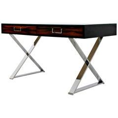 Mid-Century Modern Baughman Thayer Coggin Rosewood Chrome Glass Campaign X Desk