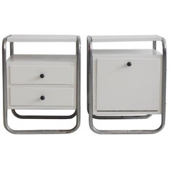 Pair of White Painted Side Tables with Tubular Steel Frame