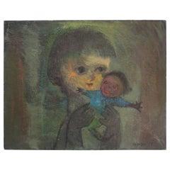 Karnig Nalbandian 'Blue Doll' Oil on Canvas, 1953