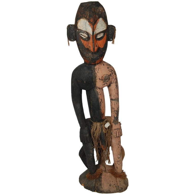 Large Oceanic Male Ancestral Figure Carving