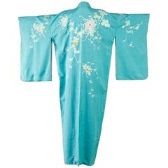 Japanese Turquoise Silk Hōmongi Kimono with Embroidered Chrysanthemums and Vines