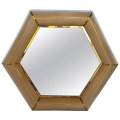 Karl Springer Hexagonal Mirror with Brass