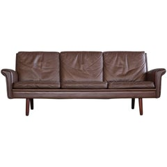 Classic Danish Midcentury Sofa in Chestnut Colored Leather by Georg Thams
