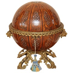 19th Century Continental Globular Walnut and Mother of Pearl Tantalus