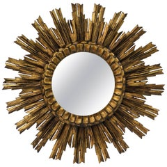French Gilt Starburst or Sunburst Mirror (Diameter 24)