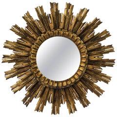 French Gilt Starburst or Sunburst Mirror