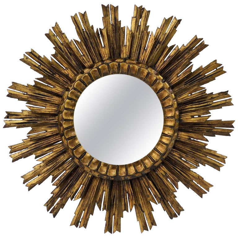 French Gilt Starburst or Sunburst Mirror (Diameter 24) For Sale