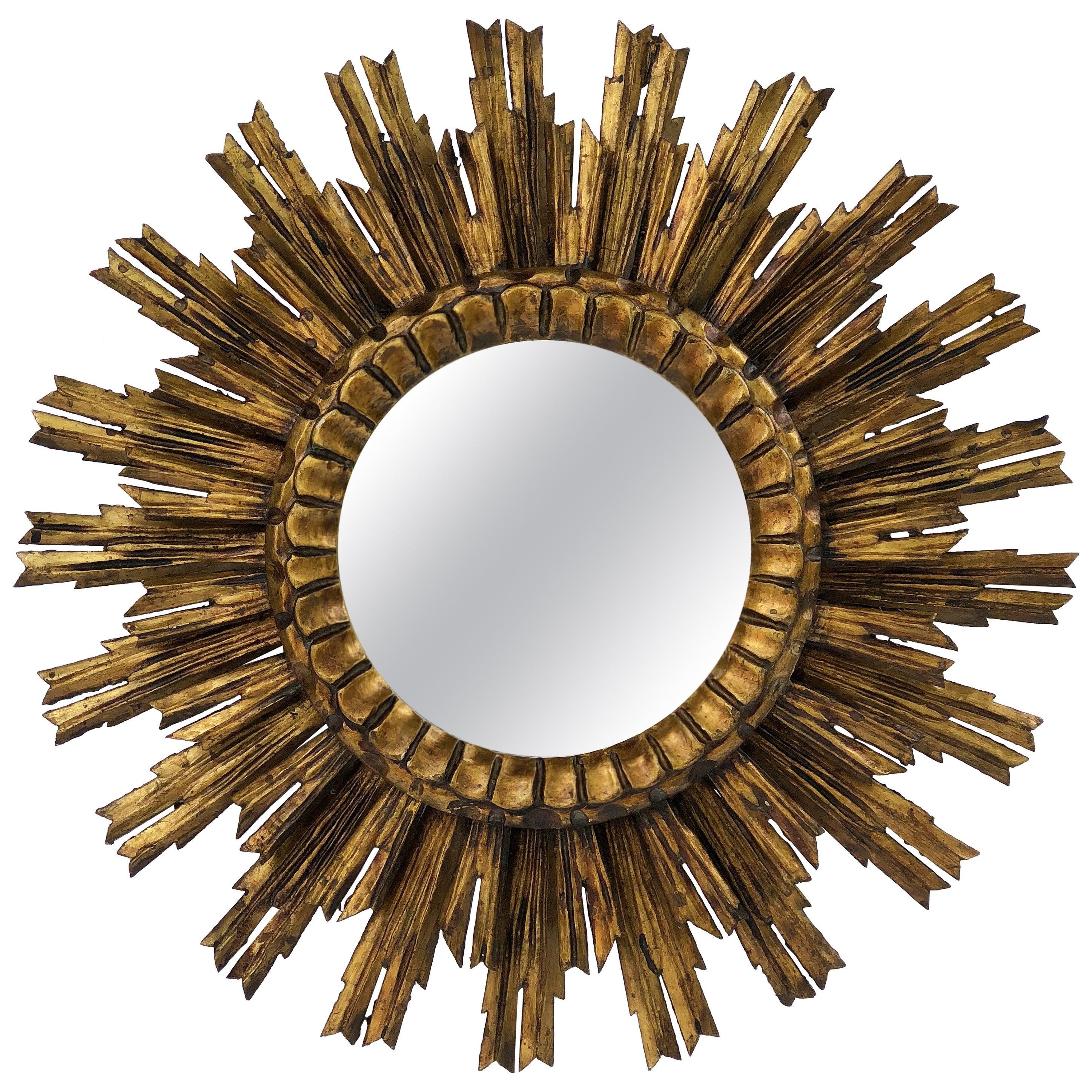 French Gilt Starburst or Sunburst Mirror (Diameter 24)