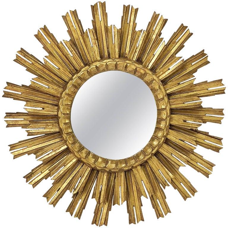 French Gilt Starburst or Sunburst Mirror (Diameter 25)